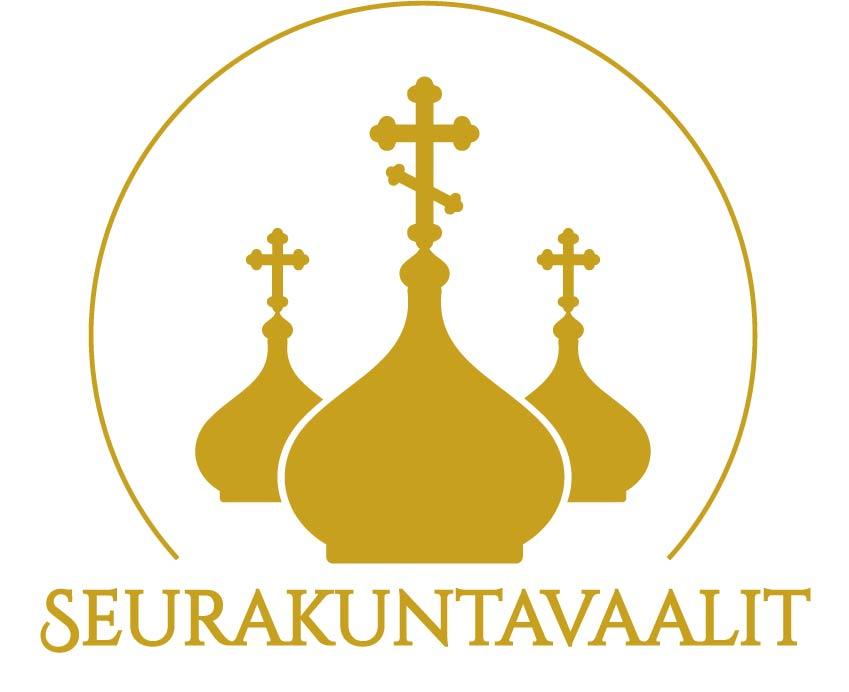 Helsingin ortodoksisen seurakunnan logo, jossa kolme kullanväristä kirkon kupolia.