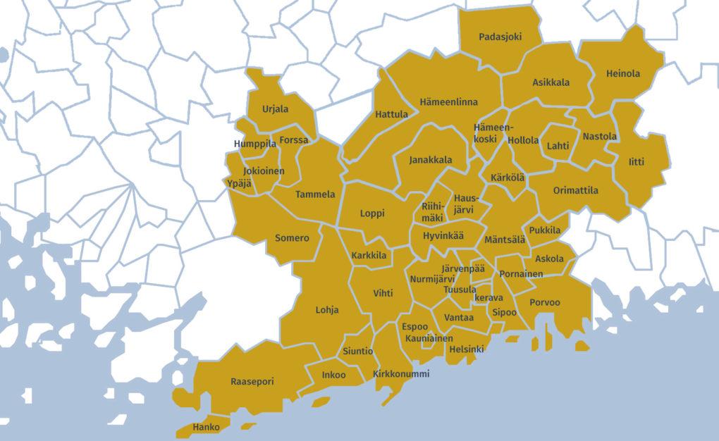 Helsingin ortodoksiseen seurakuntaan kuuluvat kunnat piirretyllä kartalla.